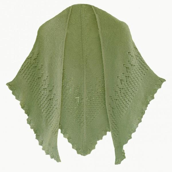 Zöld kötött vállkendő DROPS BabyAlpaca Silk fonalból